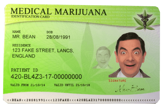 Fake ID Novelty plastic personalized MEDICAL MARIJUANA card
