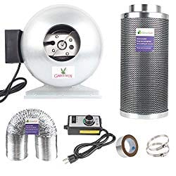Growsun 6 Inch 400 CFM Inline Carbon Filter Fan Combo for Grow Tent