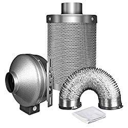 iPower Set : 6Inch High CFM Inline Exhausting Fan + Carbon Filter + Duct Fan